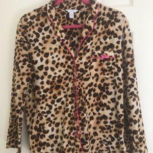 Charter Club Animal Print Stretch Fleece Pajama M